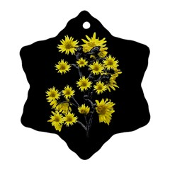 Sunflowers Over Black Snowflake Ornament (2-Side)