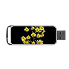 Sunflowers Over Black Portable USB Flash (One Side)