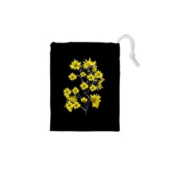 Sunflowers Over Black Drawstring Pouches (xs)