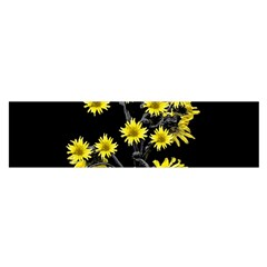 Sunflowers Over Black Satin Scarf (Oblong)