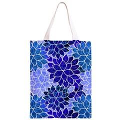 Azurite Blue Flowers Classic Light Tote Bag