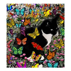 Freckles In Butterflies I, Black White Tux Cat Shower Curtain 66  x 72  (Large)