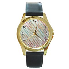Diagonal Stripes Painting                                                               			round Gold Metal Watch