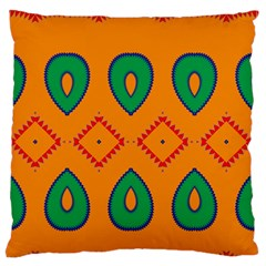 Rhombus and leaves                                                                Large Flano Cushion Case (Two Sides)