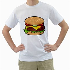 Cheeseburger Men s T-Shirt (White) (Two Sided)