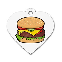 Cheeseburger Dog Tag Heart (One Side)