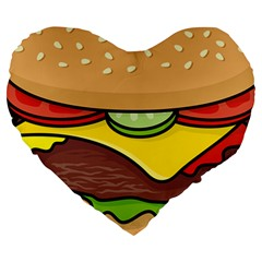 Cheeseburger Large 19  Premium Flano Heart Shape Cushions