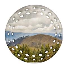 Ecuadorian Landscape At Chimborazo Province Round Filigree Ornament (2Side)