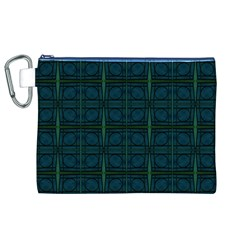 Dark Blue Teal Mod Circles Canvas Cosmetic Bag (XL)