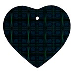 Dark Blue Teal Mod Circles Ornament (Heart)  Front