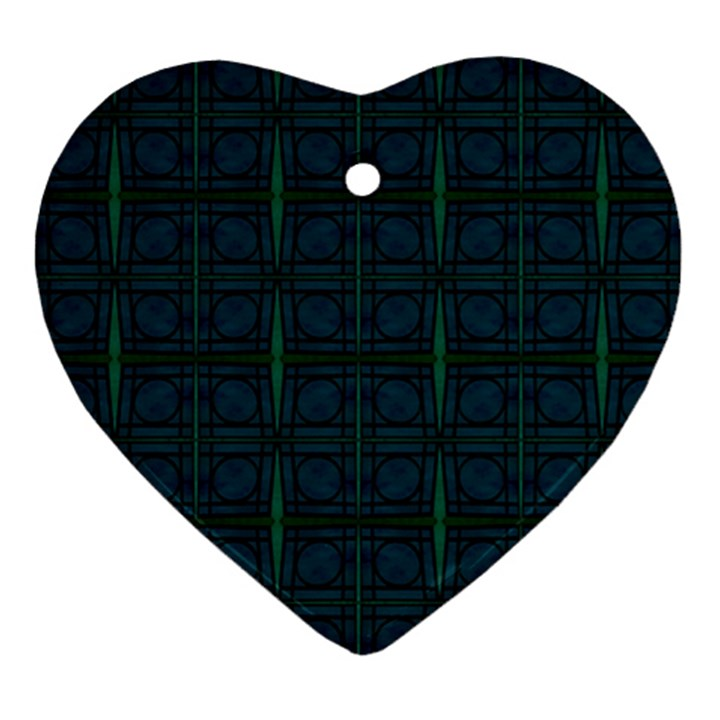 Dark Blue Teal Mod Circles Ornament (Heart)