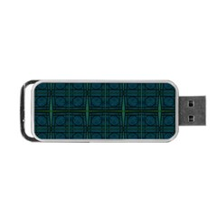 Dark Blue Teal Mod Circles Portable USB Flash (Two Sides)