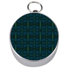 Dark Blue Teal Mod Circles Silver Compasses