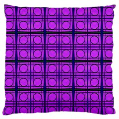 Bright Pink Mod Circles Large Flano Cushion Case (Two Sides)