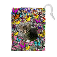 Emma In Butterflies I, Gray Tabby Kitten Drawstring Pouches (Extra Large)