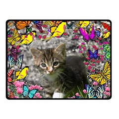 Emma In Butterflies I, Gray Tabby Kitten Double Sided Fleece Blanket (Small)