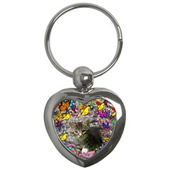 Emma In Butterflies I, Gray Tabby Kitten Key Chains (Heart)