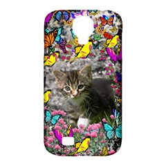Emma In Butterflies I, Gray Tabby Kitten Samsung Galaxy S4 Classic Hardshell Case (PC+Silicone)