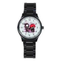 Local Anesthetic Stainless Steel Round Watch