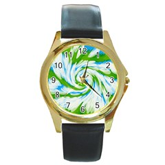 Tie Dye Green Blue Abstract Swirl Round Gold Metal Watch