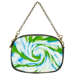 Tie Dye Green Blue Abstract Swirl Chain Purses (one Side)
