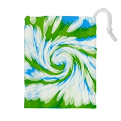 Tie Dye Green Blue Abstract Swirl Drawstring Pouches (Extra Large)