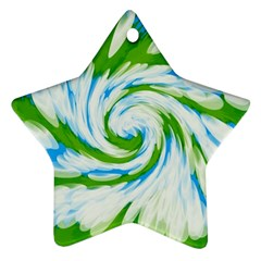 Tie Dye Green Blue Abstract Swirl Star Ornament (Two Sides)