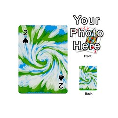 Tie Dye Green Blue Abstract Swirl Playing Cards 54 (Mini)