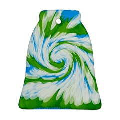 Tie Dye Green Blue Abstract Swirl Bell Ornament (2 Sides)