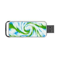 Tie Dye Green Blue Abstract Swirl Portable USB Flash (Two Sides)