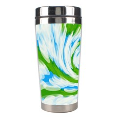 Tie Dye Green Blue Abstract Swirl Stainless Steel Travel Tumblers