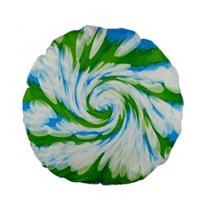 Tie Dye Green Blue Abstract Swirl Standard 15  Premium Flano Round Cushions