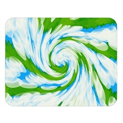 Tie Dye Green Blue Abstract Swirl Double Sided Flano Blanket (Large)