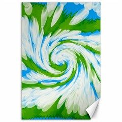 Tie Dye Green Blue Abstract Swirl Canvas 24  x 36