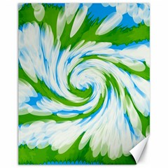 Tie Dye Green Blue Abstract Swirl Canvas 11  x 14