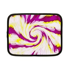 Tie Dye Pink Yellow Swirl Abstract Netbook Case (Small)