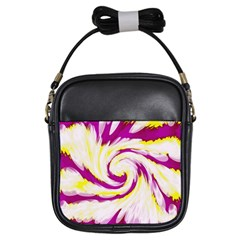 Tie Dye Pink Yellow Swirl Abstract Girls Sling Bags