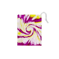 Tie Dye Pink Yellow Swirl Abstract Drawstring Pouches (xs)