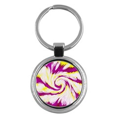Tie Dye Pink Yellow Abstract Swirl Key Chains (Round)