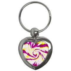 Tie Dye Pink Yellow Abstract Swirl Key Chains (Heart)