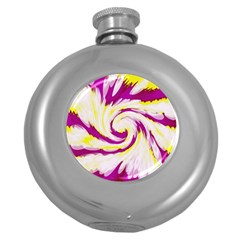 Tie Dye Pink Yellow Abstract Swirl Round Hip Flask (5 Oz)