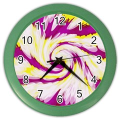 Tie Dye Pink Yellow Abstract Swirl Color Wall Clocks