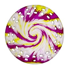 Tie Dye Pink Yellow Abstract Swirl Round Filigree Ornament (2Side)