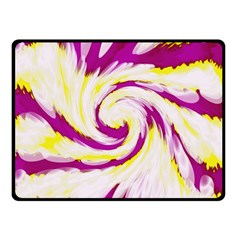 Tie Dye Pink Yellow Abstract Swirl Double Sided Fleece Blanket (Small)