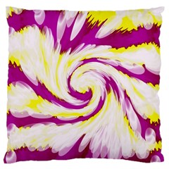 Tie Dye Pink Yellow Abstract Swirl Large Flano Cushion Case (One Side)