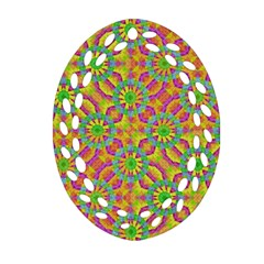 Modern Colorful Geometric Oval Filigree Ornament (2-Side)