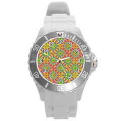 Modern Colorful Geometric Round Plastic Sport Watch (L)