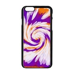 Tie Dye Purple Orange Abstract Swirl Apple iPhone 6/6S Black Enamel Case