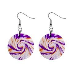 Tie Dye Purple Orange Abstract Swirl Mini Button Earrings