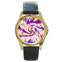 Tie Dye Purple Orange Abstract Swirl Round Gold Metal Watch
